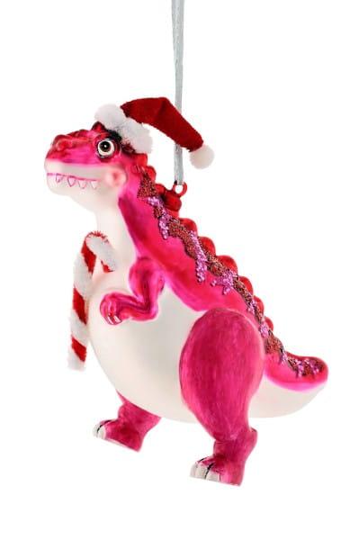 Weihnachten Gift T-REX Hänger, m. Zuckerstange rosa