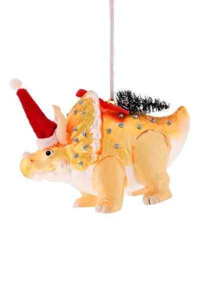 Weihnachten Gift DINO Hänger, Triceratops gold