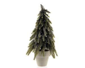 Weihnachten Kae MINIBAUM Papptopf, 25cm m/ Schleife hell grün-weiß
