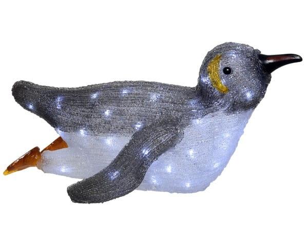 Weihnachten Kae LED Acrylpinguin einstel, 33x56x27cm-50L warmes weiss/Kalt