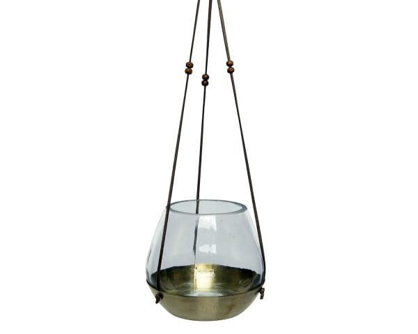 Teelichthalter Kae Glas Teelicht Haenger, dia14.5x14cm braun