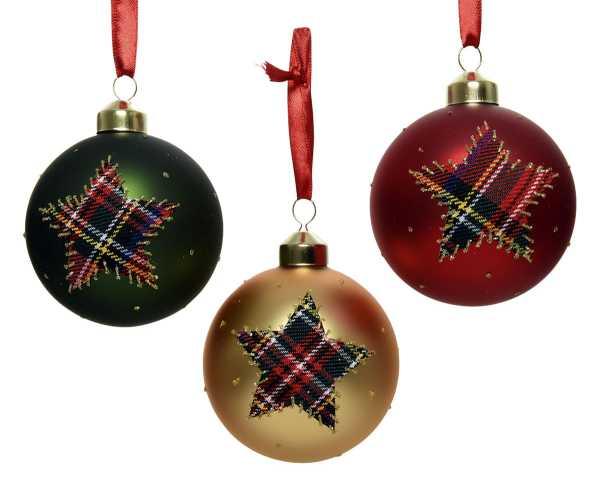 Weihnachten Kae Glaskugel Karostar 3fs, dia8cm assorted