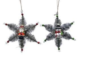 Weihnachten Kae Glas Santa/Flocke 2sort, dia14x3cm assorted
