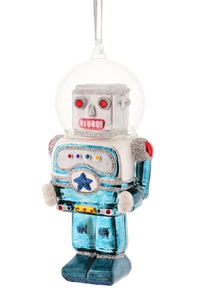 Weihnachten Gift ROBOTER Hänger, blau