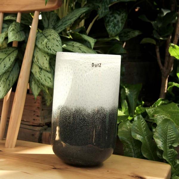 DutZ Vase THICK GLASS, grey-white H32 D18