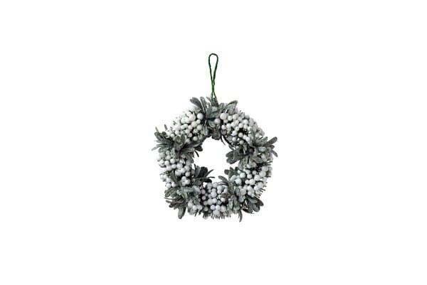 Weihnachten Gift MISTEL Kranz, D30 weiß-grün