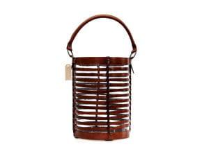 Braunes WINDLICHT aus Leder mit Griff H40 D25cm