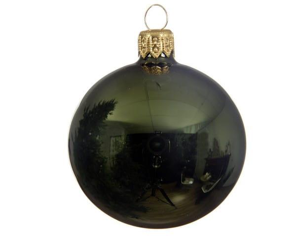Weihnachten Kae uni Kugel glanz 6er-Set, dia7cm Piniengrün