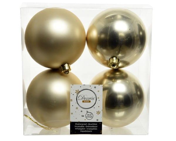 Weihnachten Kae KUGEL bruchfest 4er-Set, dia10cm Champagner