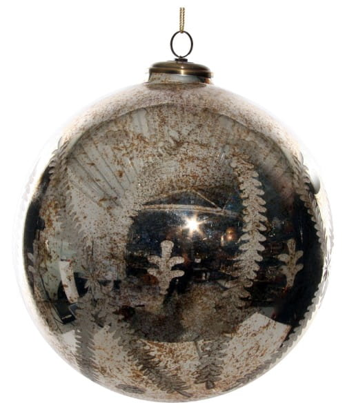 ShiShi GLASKUGEL, antik-goldener Farnschliff 30cm