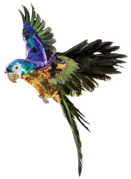 ShiShi PAPAGEI fliegend, gold-blau-grüne Pailetten 50cm