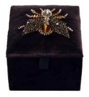ShiShi SCHMUCKDOSE Samt schwarz, Insekt schwarzbraun 8x8x7cm