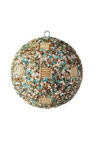 Weihnachten Gift OPIUM Weihnachtskugel, Linien Perlen+Pailetten gold