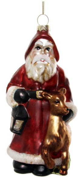 ShiShi GLAS-WEIHNACHTSMANN, m/ Hirsch rot-gold 15cm