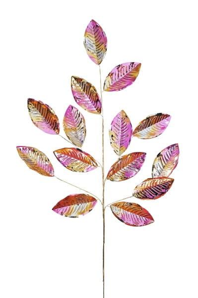 Weihnachten Gift SEOUL Deko-Zweig, Blätter lila/gold iris L76