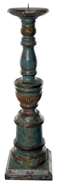 ShiShi KERZENSTÄNDER Holz, braun hellblau 59cm