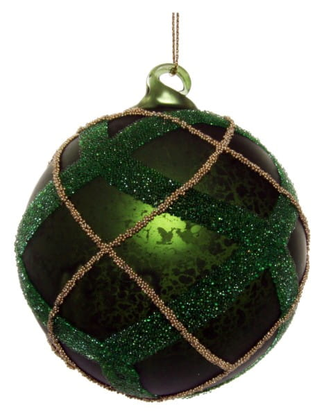 ShiShi GLASKUGEL, antikgrün grün-gold. Perlenlin. 8