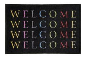 Fußmatte Gift C. WASHABLES 75x50, Welcome schwarz-bunt