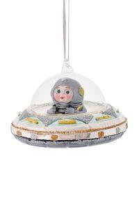 Weihnachten Gift SPACE Hänger, Astronaut im UFO blau/silber