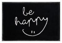 Fußmatte Gift C. WASHABLES 75x50, be happy, schwarz