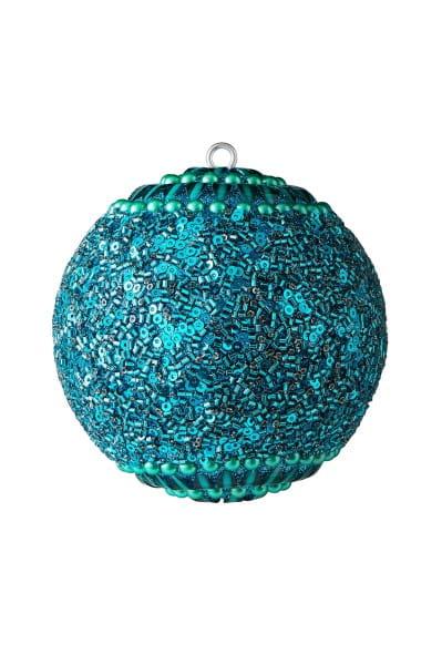 Weihnachten Gift OPIUM Weihnachtskugel, Blumen Perlen Steine türkis