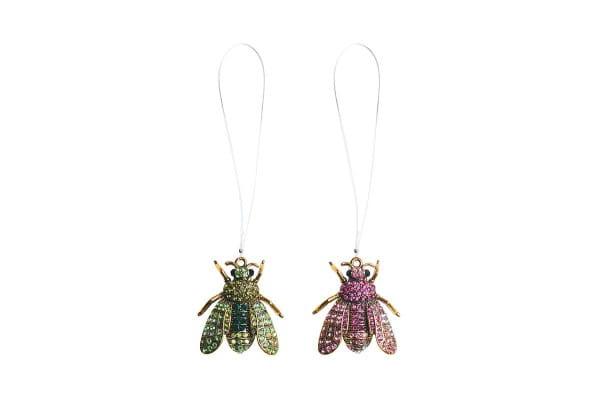 Weihnachten Gift FAME Brosche, Fliege 2fach sortiert pink/grü