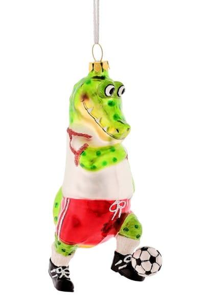 Weihnachten Gift KROKODIL Hänger, Fussballspieler grün