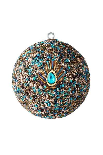 Weihnachten Gift OPIUM Weihnachtskugel, Pfaum. Pailletten Perlen bla