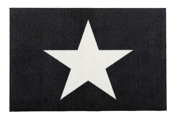 Fußmatte Gift C. WASHABLES 75x50, Stern schwarz-weiß