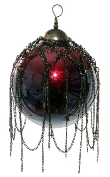 ShiShi GLASKUGEL m/ Kette antik, rot-violett 9cm