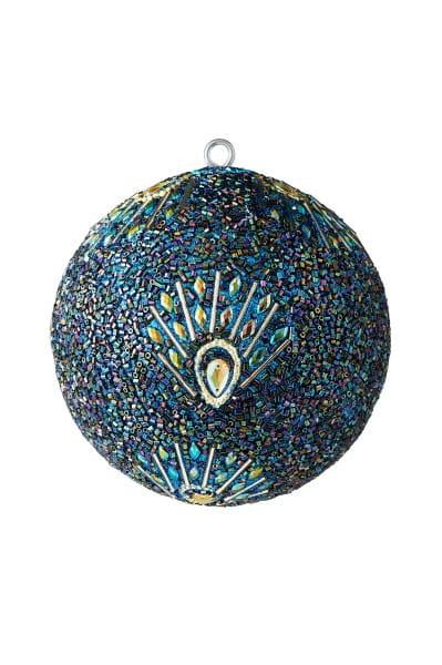 Weihnachten Gift OPIUM Weihnachtskugel, Pfaum. Perlen Steine blau