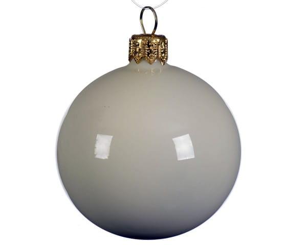 Weihnachten Kae uni Kugel emaille 6er-Se, dia7cm Wollweiss