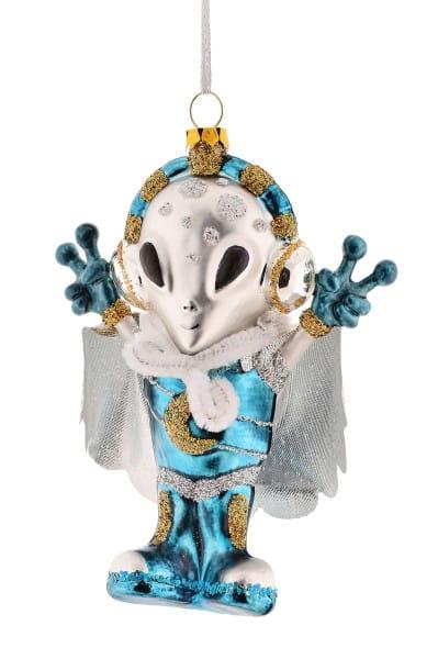 Weihnachten Gift SPACE Hänger, Alien m. Umhang blau/silber