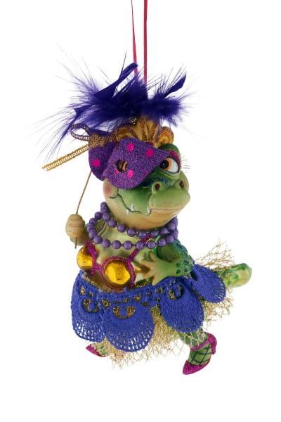 Weihnachten Gift MS.KROKODIL Hänger, Ms.Krokodil mit Maske grün/lila