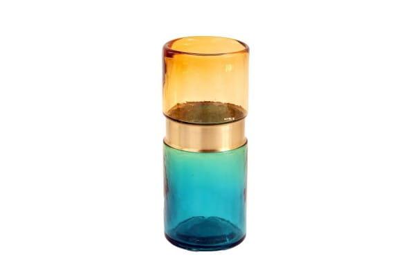 Pols Potten Vase aus Glas blau / gold H26cm