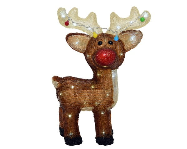 Weihnachten Kae LED Acrylhirsch aussen, 17x33x47cm-48L Kaltweiß