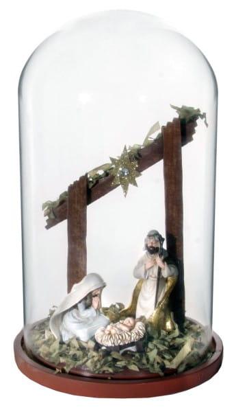 ShiShi GLASKUPPEL, m/Jesus Geburt h23cm
