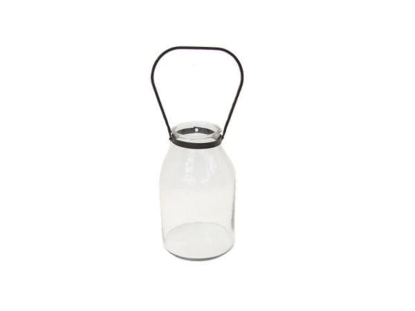 Transparentes WINDLICHT / Laterne aus Glas mit Metallgriff H29 D11cm